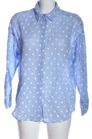 Zara Hemd-Bluse blau-weiß Punktemuster Casual-Look