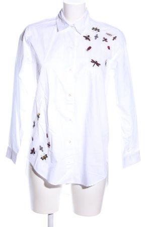 Zara Hemd-Bluse weiß-rot Motivdruck Casual-Look