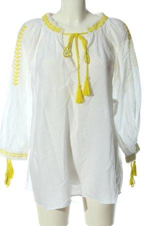 Zara Hemd-Bluse weiß-blassgelb Transparenz-Optik