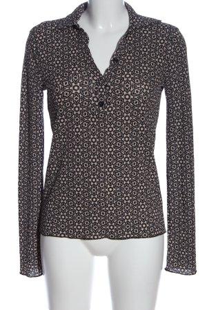 Zara Hemd-Bluse weiß-schwarz Allover-Druck Casual-Look