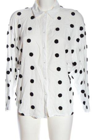 Zara Hemd-Bluse weiß-schwarz Punktemuster Casual-Look