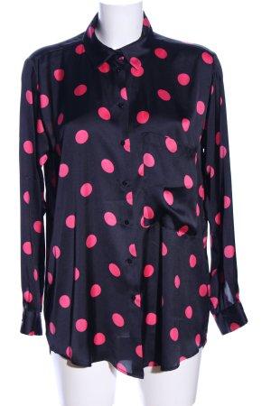 Zara Hemd-Bluse schwarz-pink Punktemuster Business-Look