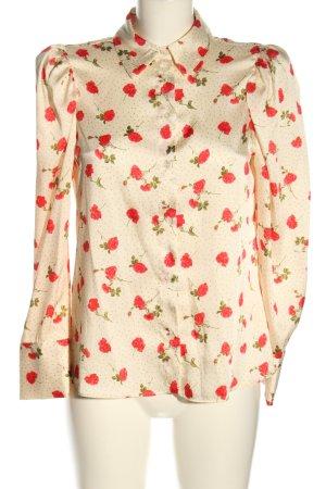 Zara Hemd-Bluse creme-rot Allover-Druck Business-Look