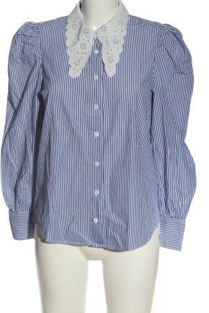 Zara Hemd-Bluse weiß-blau Streifenmuster Casual-Look
