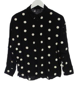 Zara Hemd-Bluse schwarz-weiß Punktemuster Casual-Look