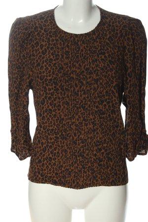 Zara Hemd-Bluse braun-schwarz Animalmuster Casual-Look