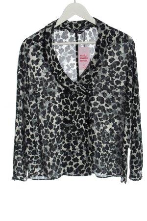 Zara Hemd-Bluse hellgrau Allover-Druck Business-Look