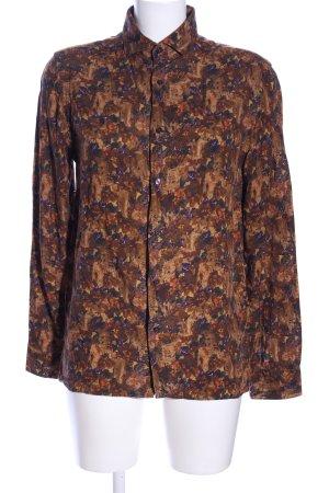 Zara Hemd-Bluse braun-lila abstraktes Muster Casual-Look