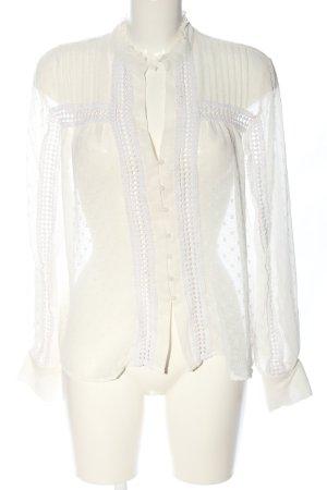 Zara Hemd-Bluse wollweiß grafisches Muster Elegant