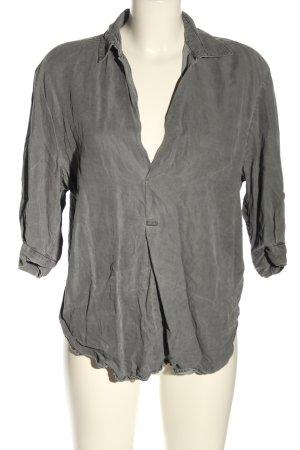 Zara Camicia blusa grigio chiaro puntinato stile casual