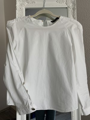 ZARA Hemd Bluse weiß mit Schultern