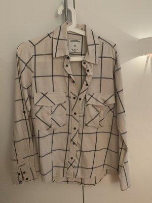 Zara Camisa de leñador blanco puro-azul oscuro