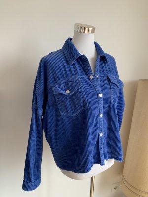 Zara Hemd Jacke S 36 blau Kord Kordhemd