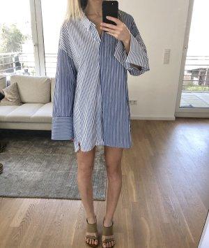 Zara Hemdblousejurk wit-blauw