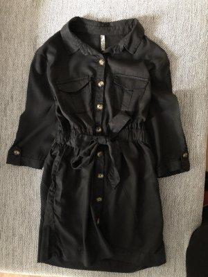 Zara Hemdbluse Bluse mit Knöpfen schwarz S