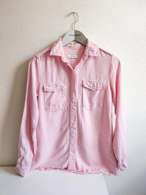 Zara Hemdbluse Gr. S rosa ausgefranst unten Leinenähnlicher Stoff