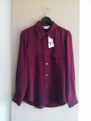 Zara Hemdbluse Hemdbluse mit Taschen aus 100% Seide, Größe 36, neu