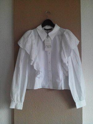 Zara Hemdbluse mit Volantdetail aus 100% Baumwolle, Größe M, neu