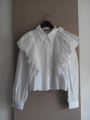 Zara Hemdbluse mit Volantdetail aus 100% Baumwolle, Größe S, neu