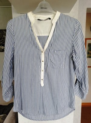 Zara Hemdbluse Streifen Bluse Tunika 3/4 Ärmel Gr. S Blau-weiß