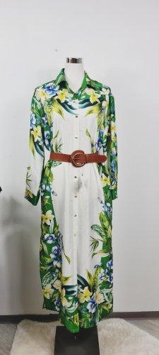 Zara / Hemdblusen Kleid / Größe M/ weiß mit Südseedruck