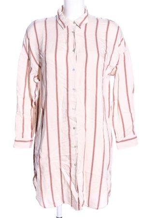 Zara Abito blusa camicia crema-rosso motivo a righe stile professionale