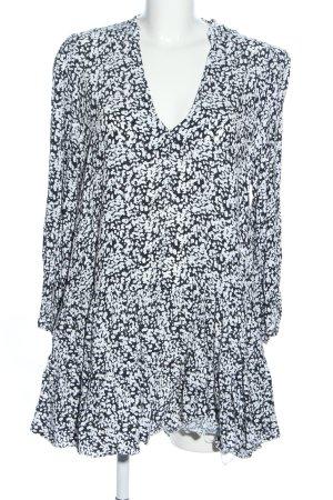 Zara Hemdblusenkleid schwarz-weiß Allover-Druck Casual-Look