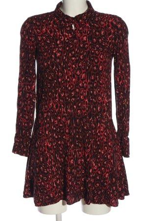 Zara Hemdblusenkleid schwarz-pink Allover-Druck Casual-Look