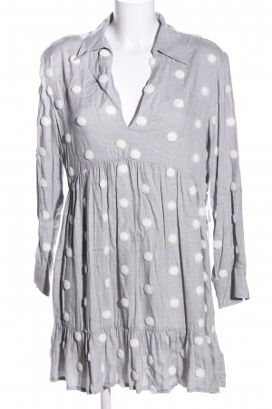 Zara Hemdblusenkleid hellgrau-weiß Punktemuster Business-Look