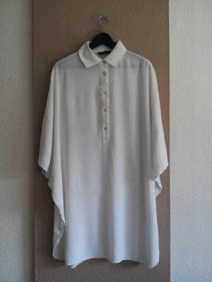 Zara Hemdblusenkleid in wollweiß mit weiten Ärmeln, Größe S oversize