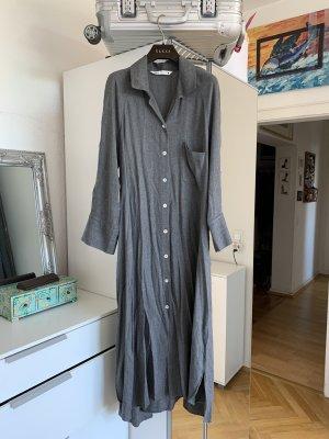 Zara Hemdblusenkleid Kleid grau Maxikleid M 36/38