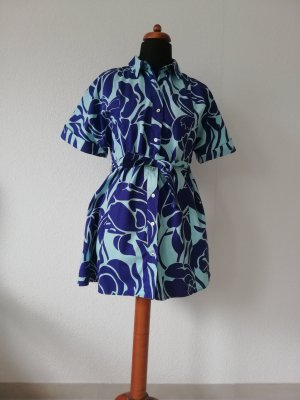 Zara Hemdkleid Blau und Türkis Gr. L 40 Blumenkleid