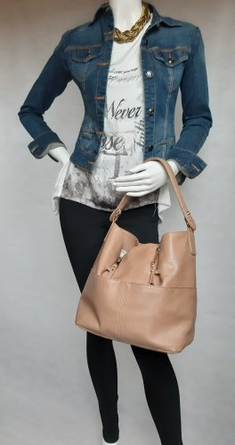 Zara Basic Bolso barrel marrón arena-beige