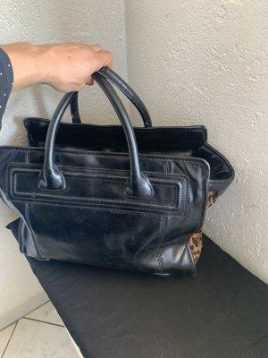 Zara Henkeltasche Kelly Bag Tasche Leder Imitat Leo Fell Print Doktortasche