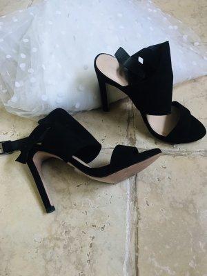 Zara Woman Pumps met bandjes zwart-grijs-bruin Leer