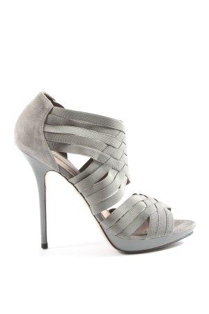 Zara High Heel Sandaletten hellgrau Party-Look