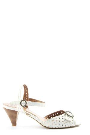 Zara High Heel Sandaletten weiß-braun Casual-Look