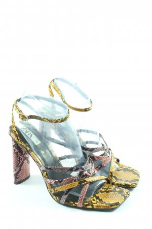 Zara High Heel Sandaletten blassgelb-pink Animalmuster extravaganter Stil