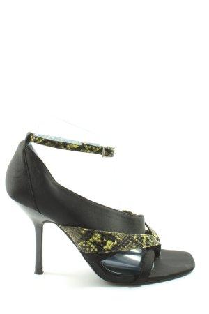 Zara High Heel Sandaletten schwarz-grün Animalmuster Casual-Look