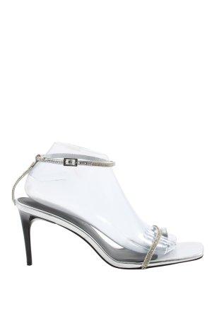 Zara High Heel Sandaletten silberfarben Elegant