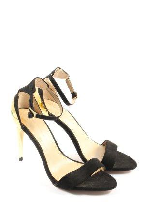 Zara Sandales à talon haut noir-doré élégant