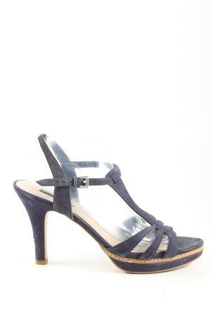 Zara High Heel Sandaletten blau-braun Casual-Look