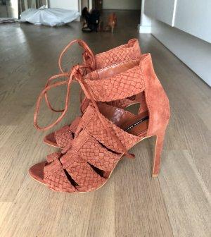 ZARA High Heels 36 Rost Braun Suede Leder