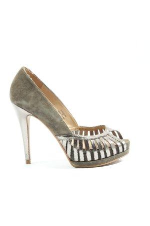 Zara High Heels khaki-silberfarben Elegant