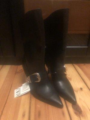 Zara high heels Boots Stiefel Cowboy Biker Blogger echtes Leder