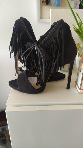 Zara High Heels Sandaletten mit Fransen aus Wildleder schwarz  Gr. 38 NEU