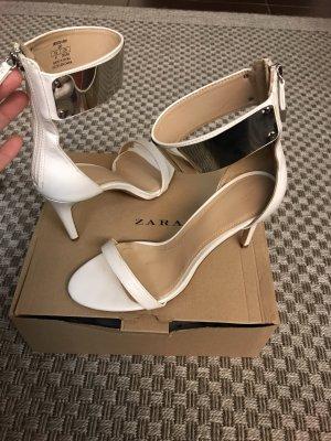 Zara High Heels Sandaletten weiß Silber Riemchen Knöchel Brautschuhe Pumps 41