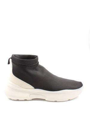 Zara Wysokie trampki czarny-biały W stylu casual