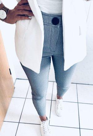 Zara High Waist Hahnentritt Jeggings Stoff Stretch Hose schwarz weiß Gr. M