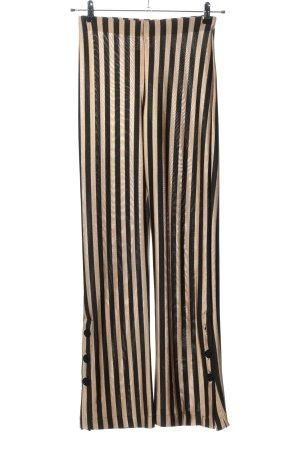 Zara High-Waist Hose creme-schwarz Streifenmuster Casual-Look